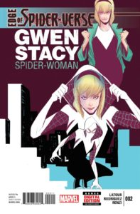 If we are in a room with this comic book EV needs to run to it and bring it back to me to page through. Spidey who is a girl AND is in a rock band? Is there any better thing in the multi-verse?