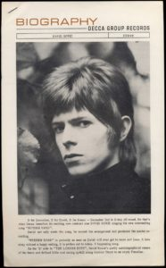 "Promotional bio from the ""Rubber Band"" single. Click to view on the source site, bowie-singles.com"